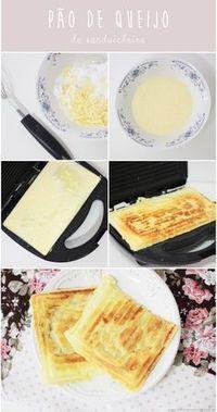 Receita fácil para lanche da tarde ou café da manhã: pão de queijo de sanduicheira. 3 colheres sopa de polvilho doce3 colheres sopa de leite3 colheres sopa de parmesão ralado1 ovosal a gosto