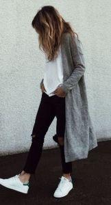#fall #fashion / gray coat + ripped denim