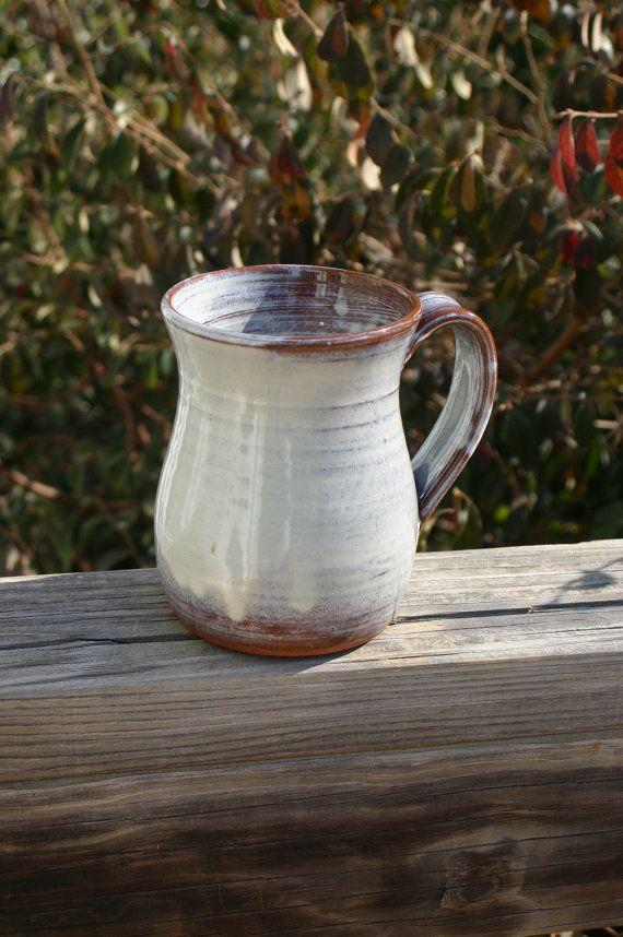 Pottery Mug with Handle Cream Glaze NC Pottery by Beaverspottery, $16.00