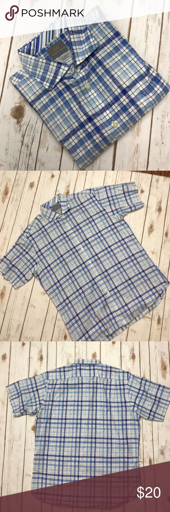 """Thomas Dean Men's plaid shirt L 100% Pima Cotton No rips . Great condition. 100% Cotton. Armpit to Armpit 24"""" Front Length 30"""" Back length 31 1/2"""". Please look at all the pictures before purchase. Thank you. Thomas Dean Shirts Casual Button Down Shirts"""