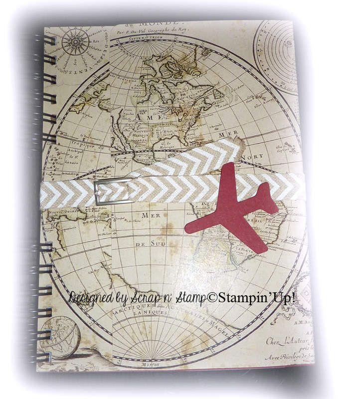 """Avec ce post, je clôture les réalisations faites à l'occasion de 70 ans et sur le thème avion/voyage. Pour ce livre do'r, je voulais quelque chose qui s'accorde avec l'urne et les invitations : un côté chic mais vintage. Un livre esprit """"carnet de voyage""""..."""