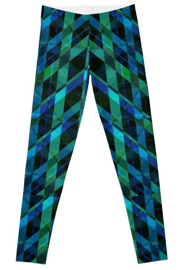 Triangular Green Plaid by scardesign11 #plaid #plaidleggings #leggings #yoga #yogaleggings #buyleggings #buyyogaleggings