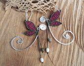 handmade macrame butterfly earrings with 925 sterling silver hook