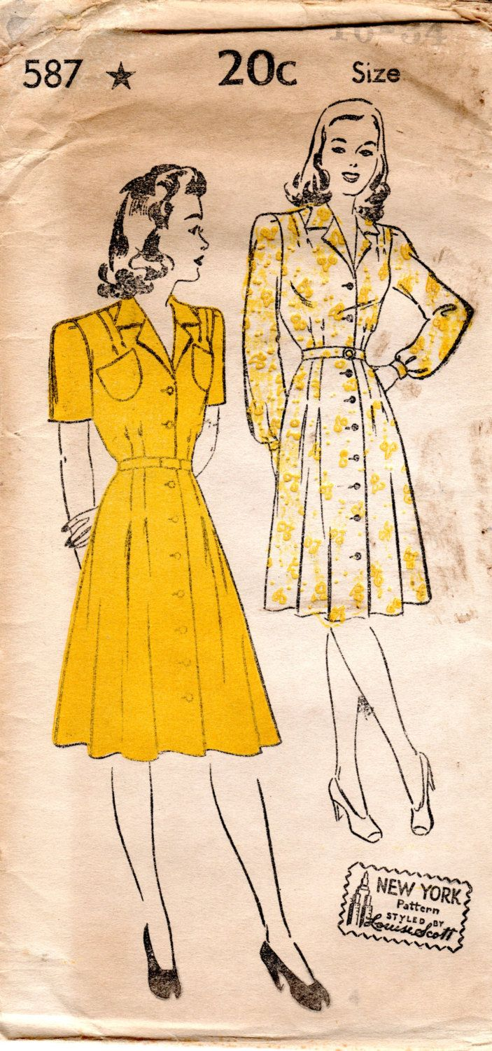 1940s Womens Shirtdress Pattern - Vintage New York 587 - Bust 34 FF by ErikawithaK on Etsy