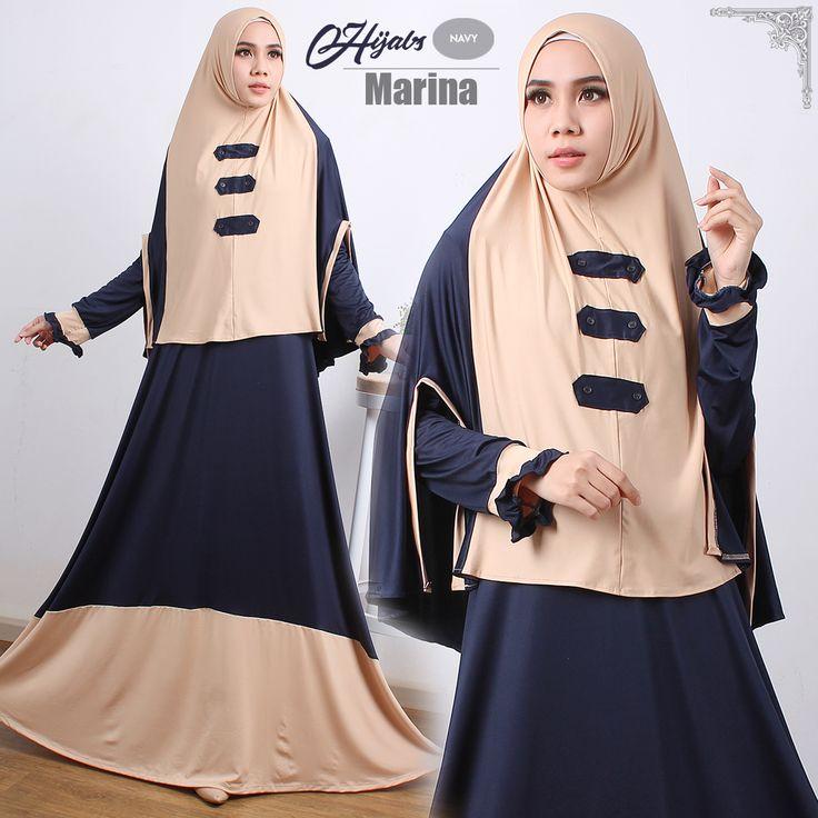 Busana Muslim Modern | Ready Marina Syari Mocca Navy Harga Terbaru