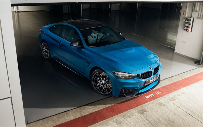 Download wallpapers BMW M4 Coupe, 2017, Blue M4, sports cars, German cars, BMW