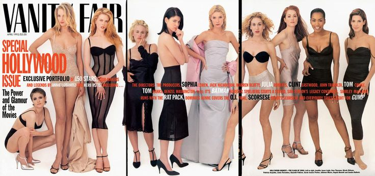1995 From left: Jennifer Jason Leigh, Uma Thurman, Nicole Kidman, Patricia Arquette, Linda Fiorentino, Gwyneth Paltrow, Sarah Jessica Parker, Julianne Moore, Angela Bassett, and Sandra Bullock