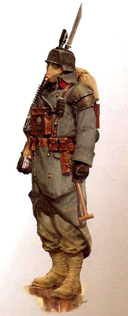 A typical Death Korps of Krieg infantryman