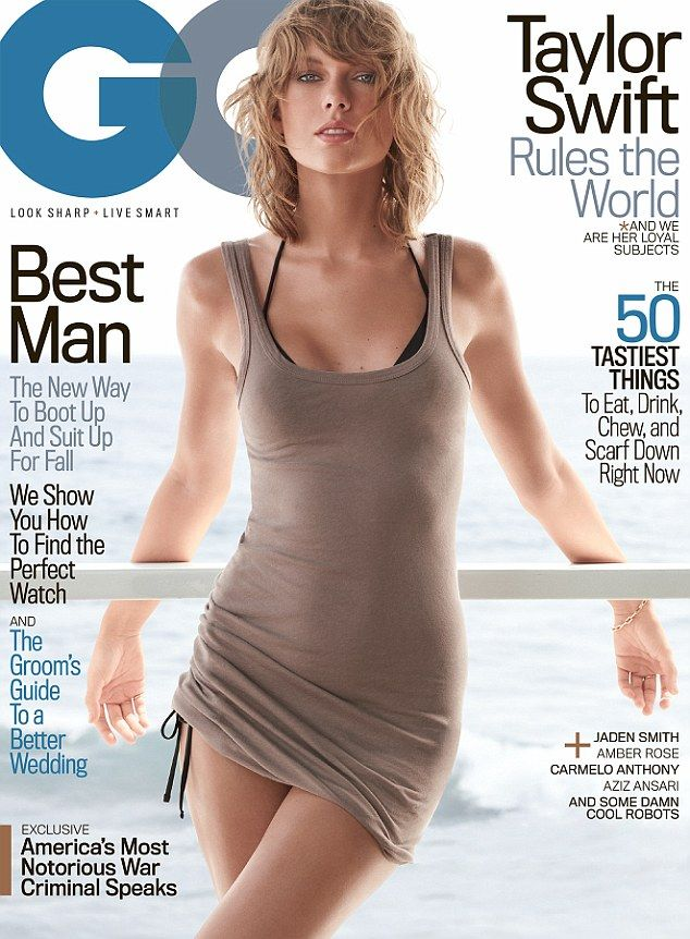 Cover girl: Taylor Swift scintillated in a clinging number as she was revealed on the cover of GQ Magazine for the first time on Thursday
