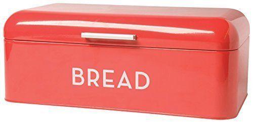 Bread Bin Kitchen Keeper Red Steel Storage Box Container Flip Top Home Vintage