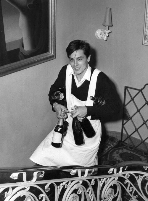 Alain Delon coming from the wine cellar