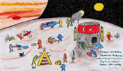 """NASA'nın desteğiyle düzenlenen """"Uluslararası Gençlik Sanat Yarışması""""nda """"en yaratıcı resim"""" dalında birinci olan 13 yaşındaki Bozkurt Selvi'nin resmi, radyoteleskopla Ay'a yollandı."""