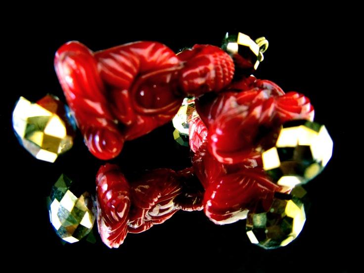 Red Buddha's earrings