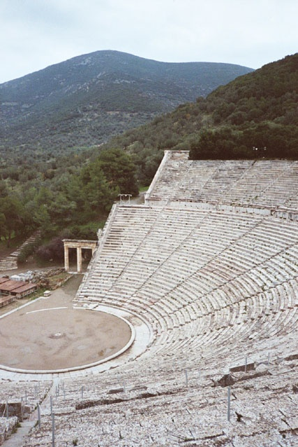 The theatre of The Sanctuary of Asklepios at Epidaurus, Greece.  You can hear a coin drop in the center of the theatre even if you are sitting in the very last row!