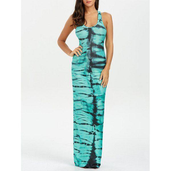 Tie Dye Racerback Maxi Dress - Green