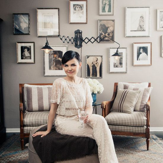 How cute is Ginnifer Goodwin (and her home)?! Love the portraits of her vaudeville-performing great aunt.