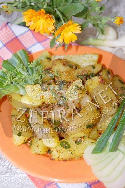 Жаренный в масле картофель с луком, зеленью и горчицей - рецепт и фото