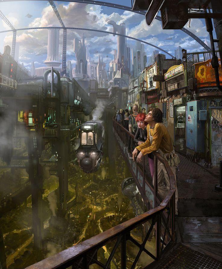Futuristic City, Underground: gone with the gun by ~mingrutu, cyberpunk, future city, futuristic architecture