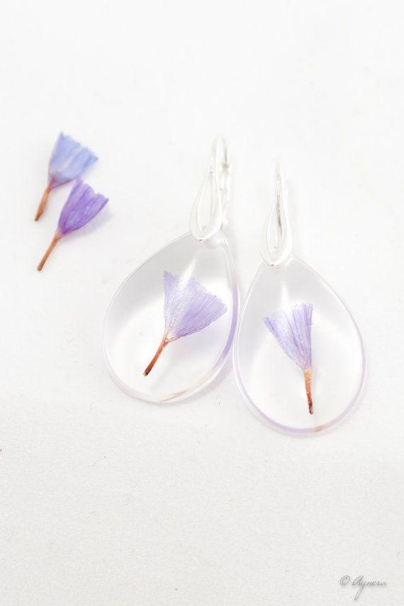 Floral Resin earrings Natural flower inside Lavender by Agnera, $21.00