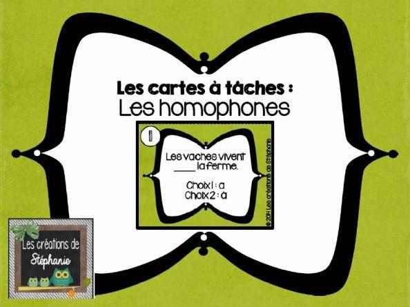 Les créations de Stéphanie: 24 cartes à tâches : Les homophones