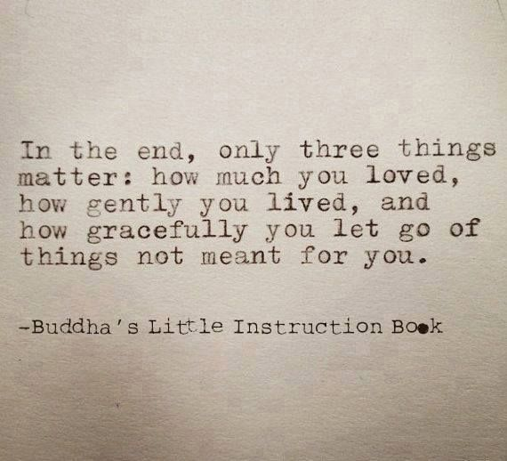 In the end, only three things matter: how much you loved, how gently you lived, snd how gracefully you let go for of things not for you. (Buddha's Little Instruction Book)  = 最期に大事なことは3つだけ。どれくらい愛したか。どんなにやさしく生きたか。そして、自分にふさわしくないものをどれだけ潔く手放したか。
