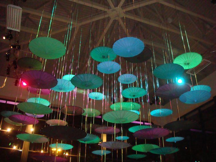Gorgeous hanging umbrella ceiling design.