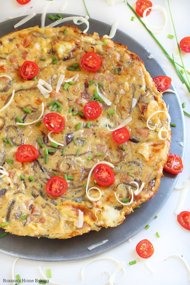 An easy meal that goes from fridge to table in less than 30 minutes, this three cheese caramelized onion and bacon frittata is perfect for breakfast, lunch or dinner!