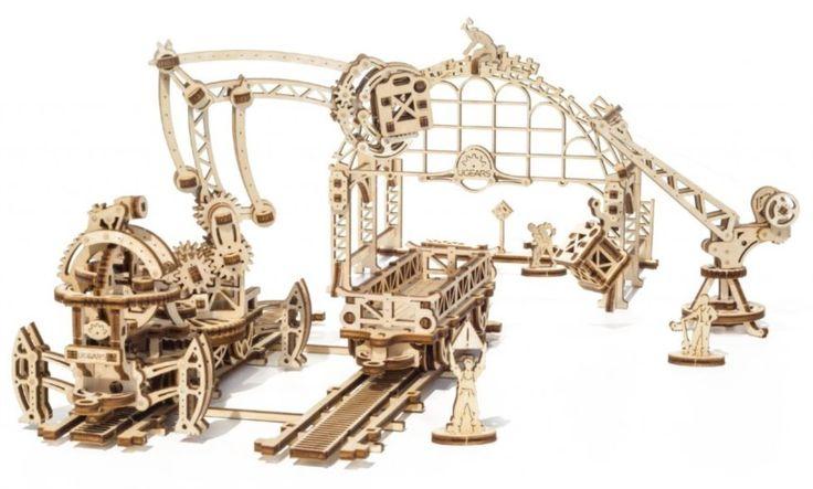 UGEARS 3D puzzle Železniční jeřáb - manipulátor 354 dílků