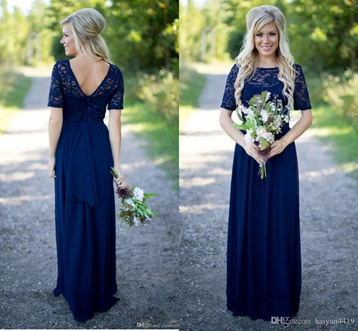 Country Bridesmaid Dresses 2016 New Hot Long For Weddings Navy Blue Chiffon Short Sleeves Illusion Lace Beads Floor Length Maid Honor Gowns Online with $85.87/Piece on Haiyan4419's Store | DHgate.com