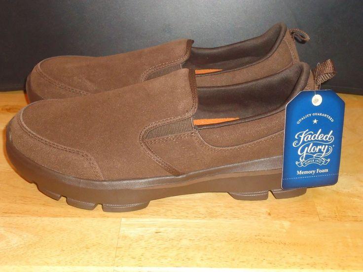 Men's Faded Glory Casual Slip On Shoes w/ Memory Foam Brown Suede Size 8-12 NWT #FadedGlory #Slipon