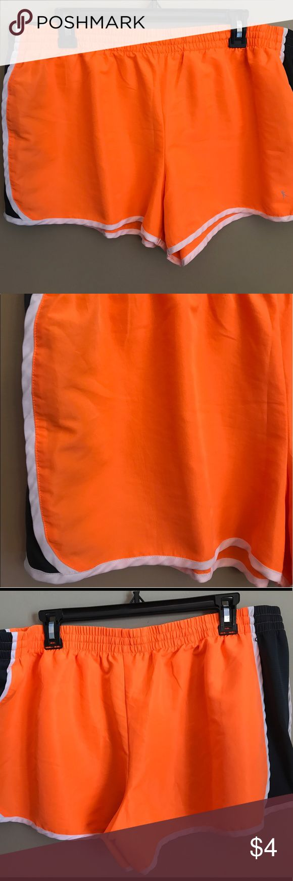Danskin Now Women's Running Shorts Bright orange and slate grey. 100% polyester. Danskin Now Shorts