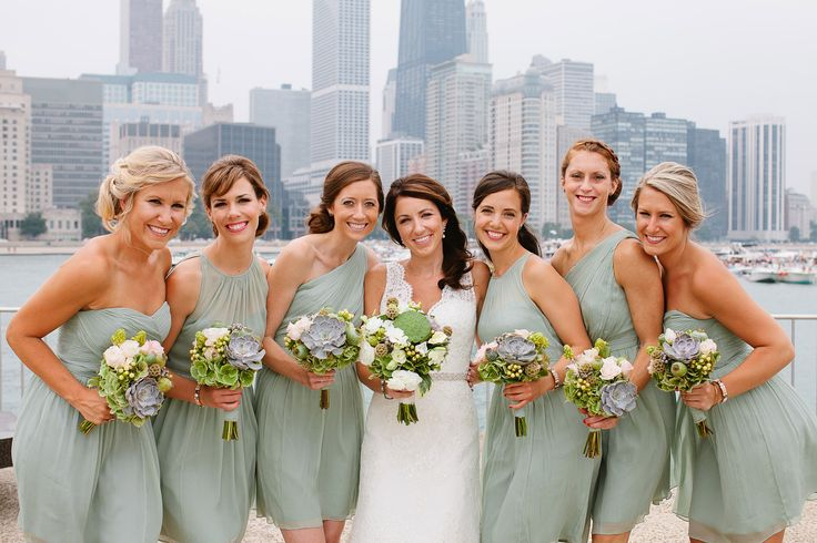 Dusty Shale Bridesmaid Dresses With Varying Necklines                                                                                                                                                                                 More