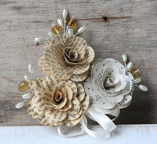 Book paper corsage...by www.thepaperflorists.com