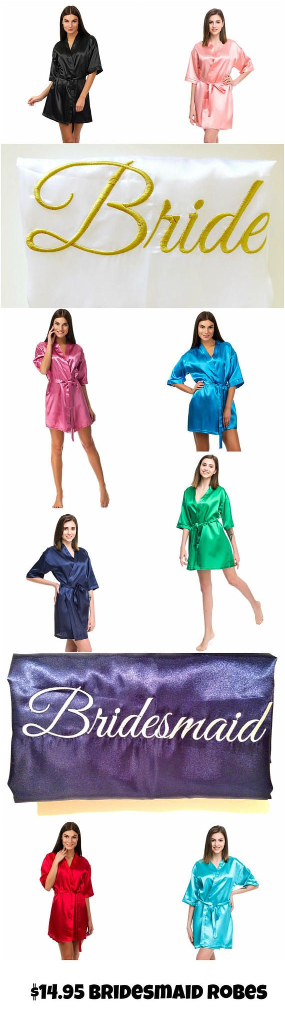 Amazing satin bridesmaid robes at a reasonable price:  • 20 vivid colors including white, ivory, light blue, gold, blush pink, red, coral, navy, black, burgundy.  • Personalization with initial, monogram, name, title, date available.  • High-quality 100% polyester satin, machine washable (delicate).  • Production time is 1-2 weeks for plain robes, up to 3 weeks for personalized robes.  • All orders shipped by airmail international, 2-3 weeks to most destinations. Expedited shipping also…