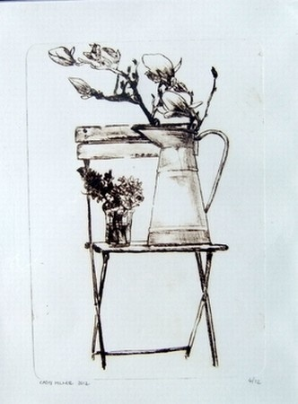 chair with blooms,etching