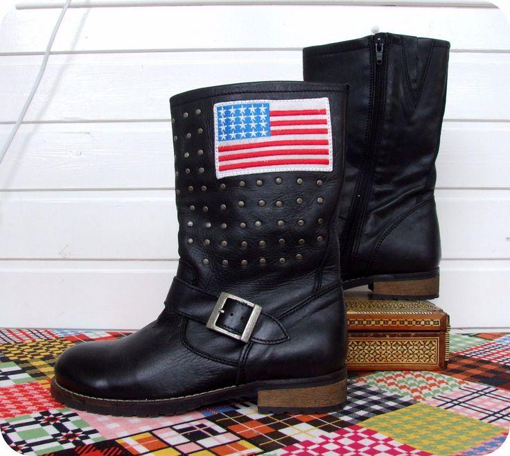 SOMMERKIND Leder Western Stiefeletten Boots Botas Nieten Leather Gr. 36 USA  in Kleidung & Accessoires, Kindermode, Schuhe & Access., Schuhe für Mädchen | eBay