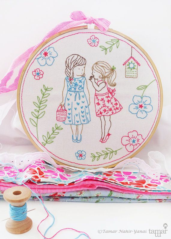 Welcome to my shop. 2 Girls and a secret Embroidery design can be appliqued to a pillow cover or a bag. It can also make an excellent wall