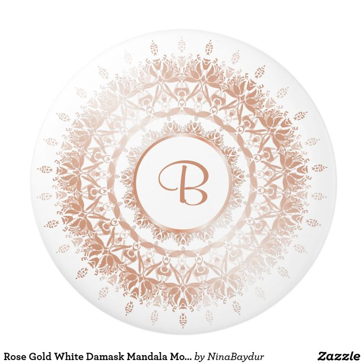 Rose Gold White Damask Mandala Monogram