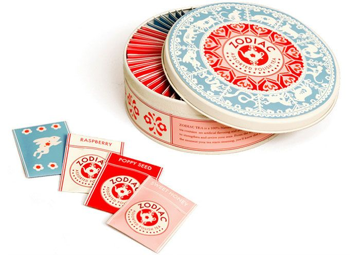 """Packaging and branding for Zodiac - Polish assorted tea.    """"The design combines the Chinese zodiac wheel with traditional Polish paper-cuts.""""                  Designed by Danielle Kroll"""
