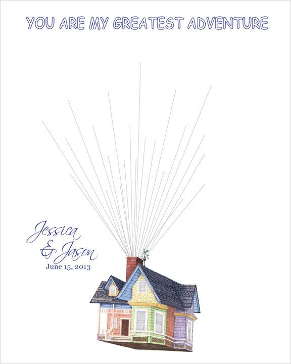 Personalized Wedding Gift Wedding Guest Book Alternative Flying House Movie UP Wedding Keepsake Reception House with Balloons 200. $45.00, via Etsy.