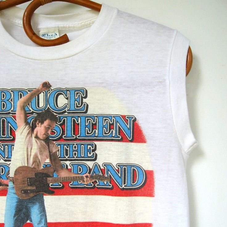 Vintage Bruce Springsteen and the E Street Band Tour T-Shirt - Born in the USA, White T-shirt, The Boss, 1984-85, Size medium, Made in USA by VintageVoyce on Etsy