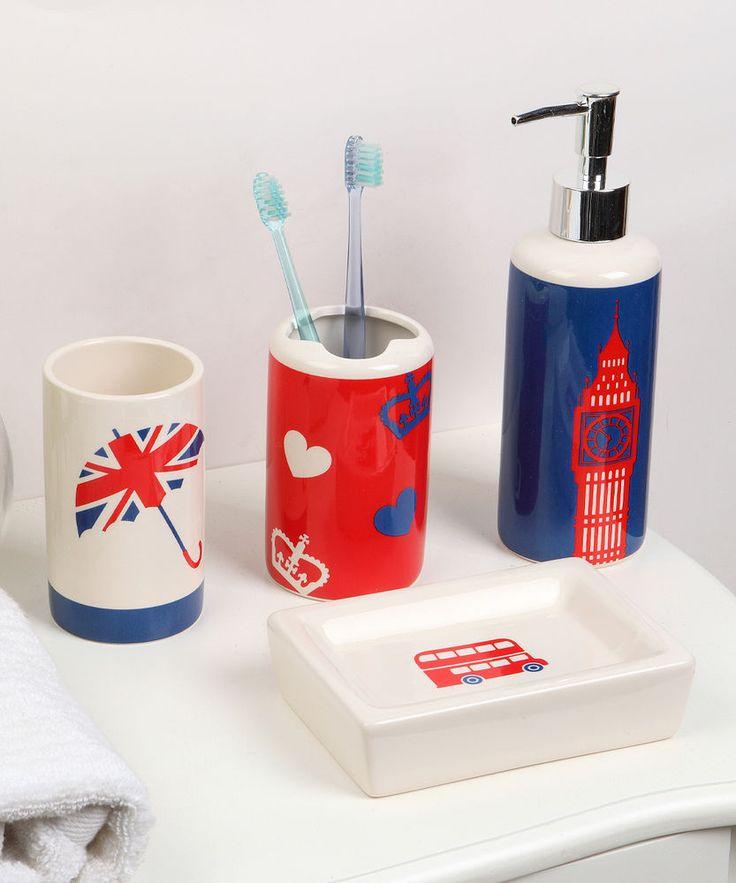 Indecor Hello London Four-Piece Bathroom Accessory Set #Indecor