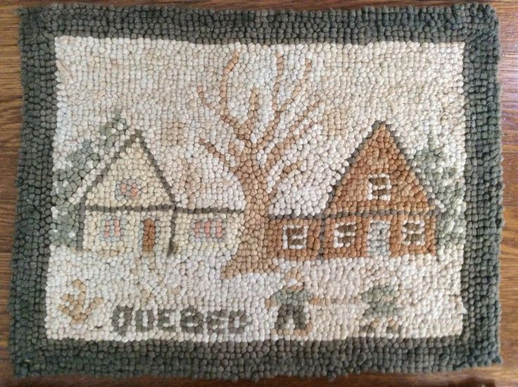 "Small Antique Mat/Rug, ""Quebec"", Snow Scene, Grenfell Style, 10.25""X13.5"""