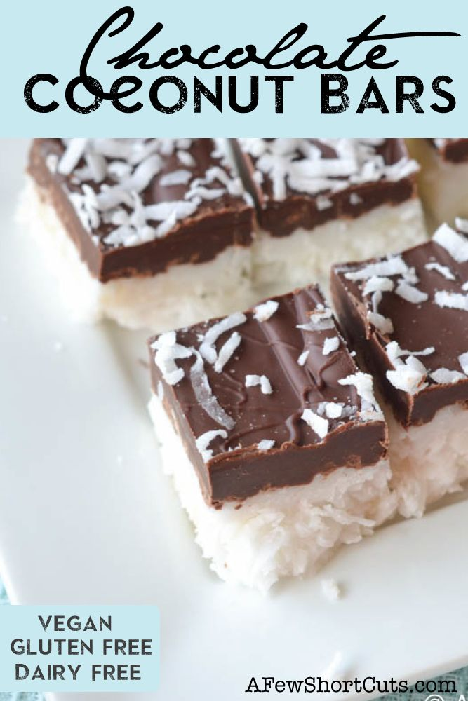 Healthy chocolate? This is pretty close! Try these simple Chocolate Coconut Bars #vegan #glutenfree #dairyfree