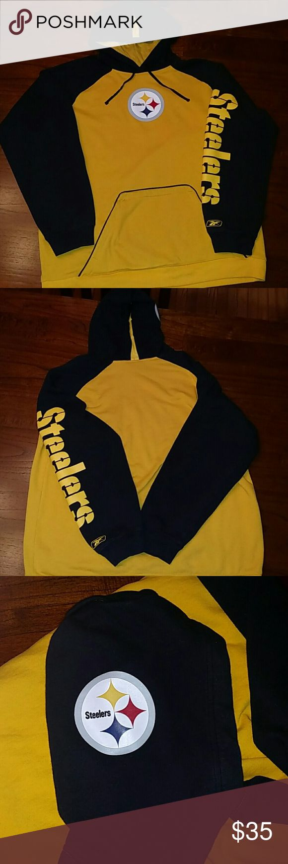 NFL Reebok Steelers Hooded Sweatshirt Gently worn Steelers Sweatshirt. Emblem on front and side of hood. Front pocket. NFL Shirts Sweatshirts & Hoodies