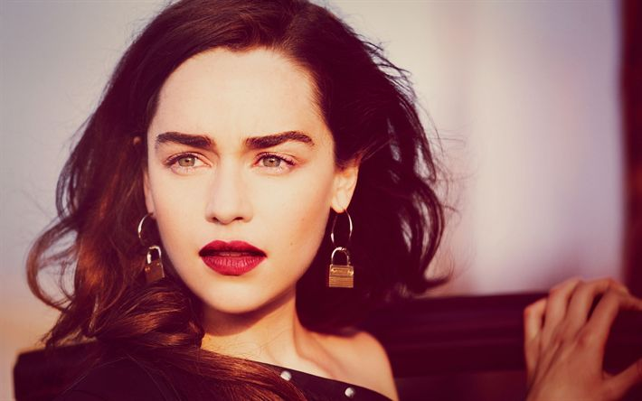 Download wallpapers Emilia Clarke, Portrait, sunset, make-up, British actress