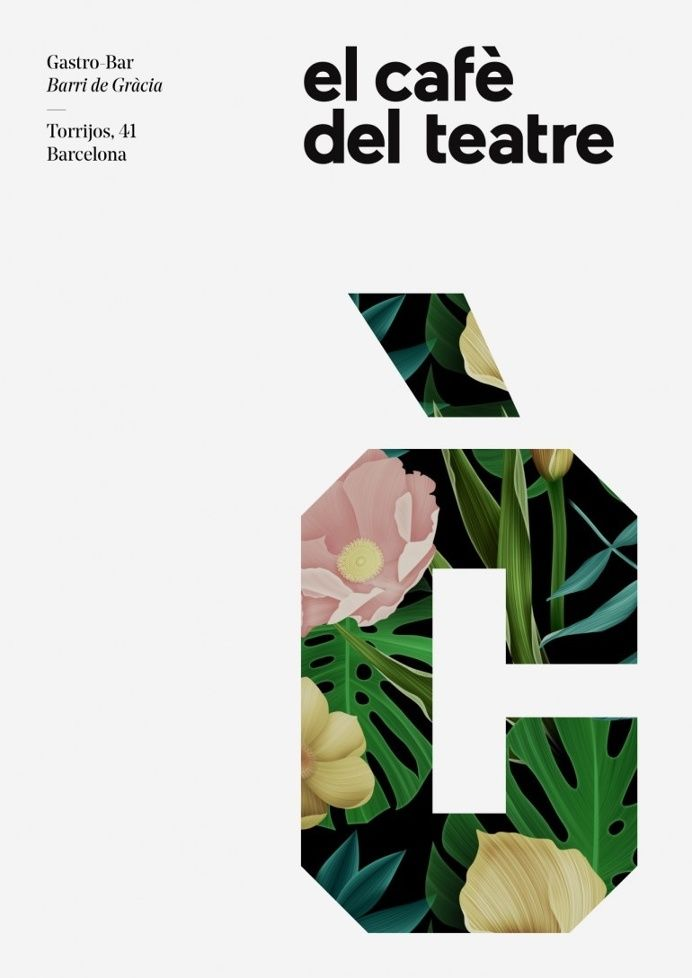 Cafe Theatre Identity - Graphic Design - Poster, C, Typographic, Plant, Flower, Texture, Black & White,  Coloured Illustration, Clean, Minimal