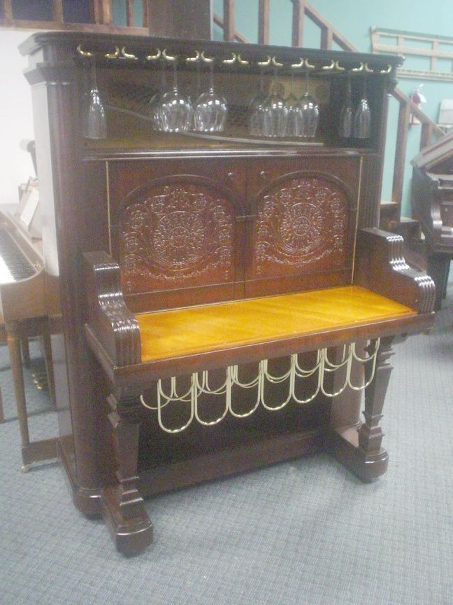 Details About Wine Cabinet Bar Repurposed From Antique Kimball Upright Piano Custom Made