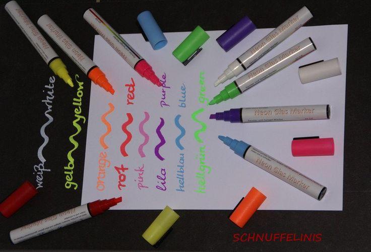 Schreibgeräte - Kreidestifte flüssig, abwíschbar - NEON-Farben - ein Designerstück von Schnuffelinis bei DaWanda