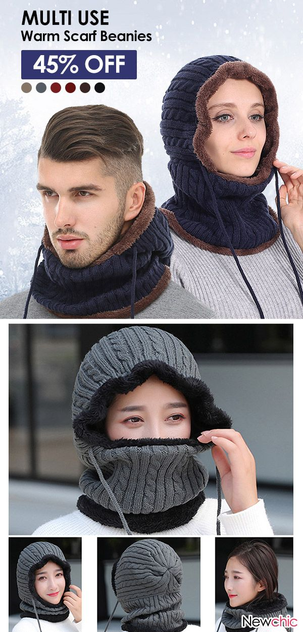 Women Men Couples Multi Use Balaclava Face Mask Winter Knit Scarf Skullies  Beanies Hat Neck Warmer  multiuse  knit  hats  scarf 441ad325411a